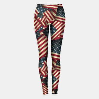 Patriotic Grunge-Style USA American Flags Leggings thumbnail image