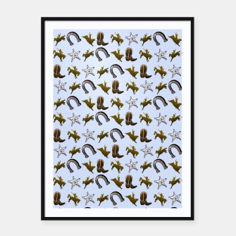 Thumbnail image of Old West Cowboy Rodeo Pattern Framed poster, Live Heroes