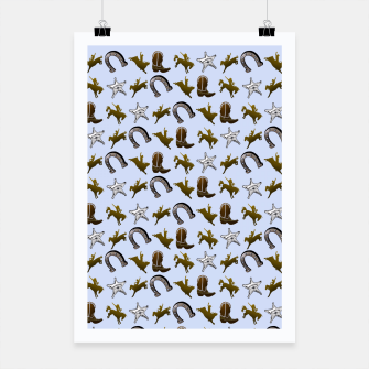 Miniatur Old West Cowboy Rodeo Pattern Poster, Live Heroes