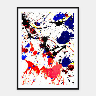 Thumbnail image of Blue Red Black Paint Splatter Framed poster, Live Heroes
