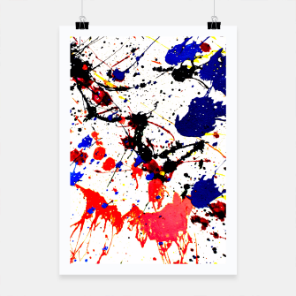 Thumbnail image of Blue Red Black Paint Splatter Poster, Live Heroes