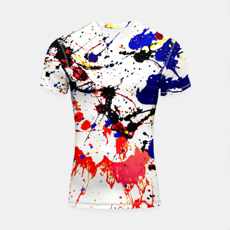 Thumbnail image of Blue Red Black Paint Splatter Shortsleeve Rashguard, Live Heroes