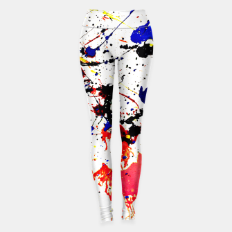 Thumbnail image of Blue Red Black Paint Splatter Leggings, Live Heroes