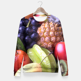 Thumbnail image of Tropical Exotic Fruits Fitted Waist Sweater, Live Heroes