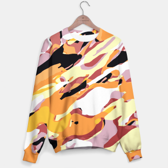 Miniatur camouflage graffiti painting texture abstract brown yellow and black Sweater, Live Heroes