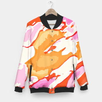 Miniatur camouflage graffiti painting texture abstract in pink orange red brown Baseball Jacket, Live Heroes