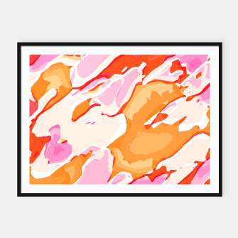 Thumbnail image of camouflage graffiti painting texture abstract in pink orange red brown Framed poster, Live Heroes