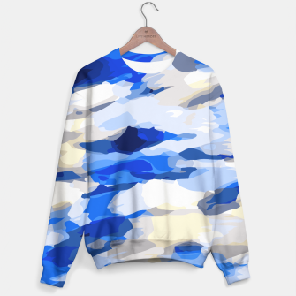 Miniatur camouflage graffiti painting texture abstract in blue and white Sweater, Live Heroes