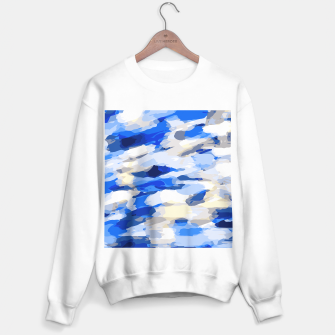 Thumbnail image of camouflage graffiti painting texture abstract in blue and white Sweater regular, Live Heroes