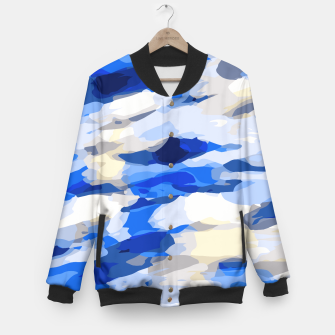 Miniatur camouflage graffiti painting texture abstract in blue and white Baseball Jacket, Live Heroes