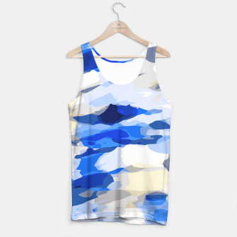 Miniatur camouflage graffiti painting texture abstract in blue and white Tank Top, Live Heroes