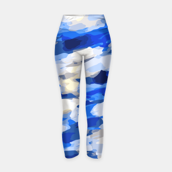 Thumbnail image of camouflage graffiti painting texture abstract in blue and white Yoga Pants, Live Heroes
