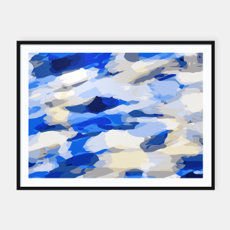Thumbnail image of camouflage graffiti painting texture abstract in blue and white Framed poster, Live Heroes