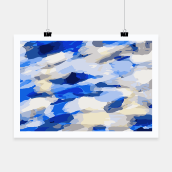 Miniatur camouflage graffiti painting texture abstract in blue and white Poster, Live Heroes