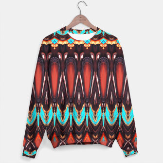 Thumbnail image of K172 Wood and Turquoise Abstract Sweater, Live Heroes