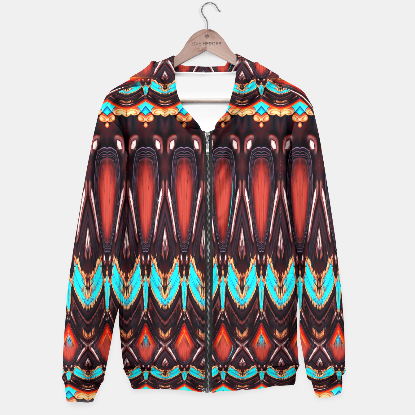 Image of K172 Wood and Turquoise Abstract Hoodie - Live Heroes