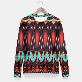 Thumbnail image of K172 Wood and Turquoise Abstract Fitted Waist Sweater, Live Heroes