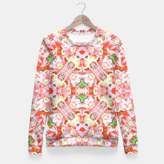 K196 Abstract Pink Flowers  Fitted Waist Sweater thumbnail image