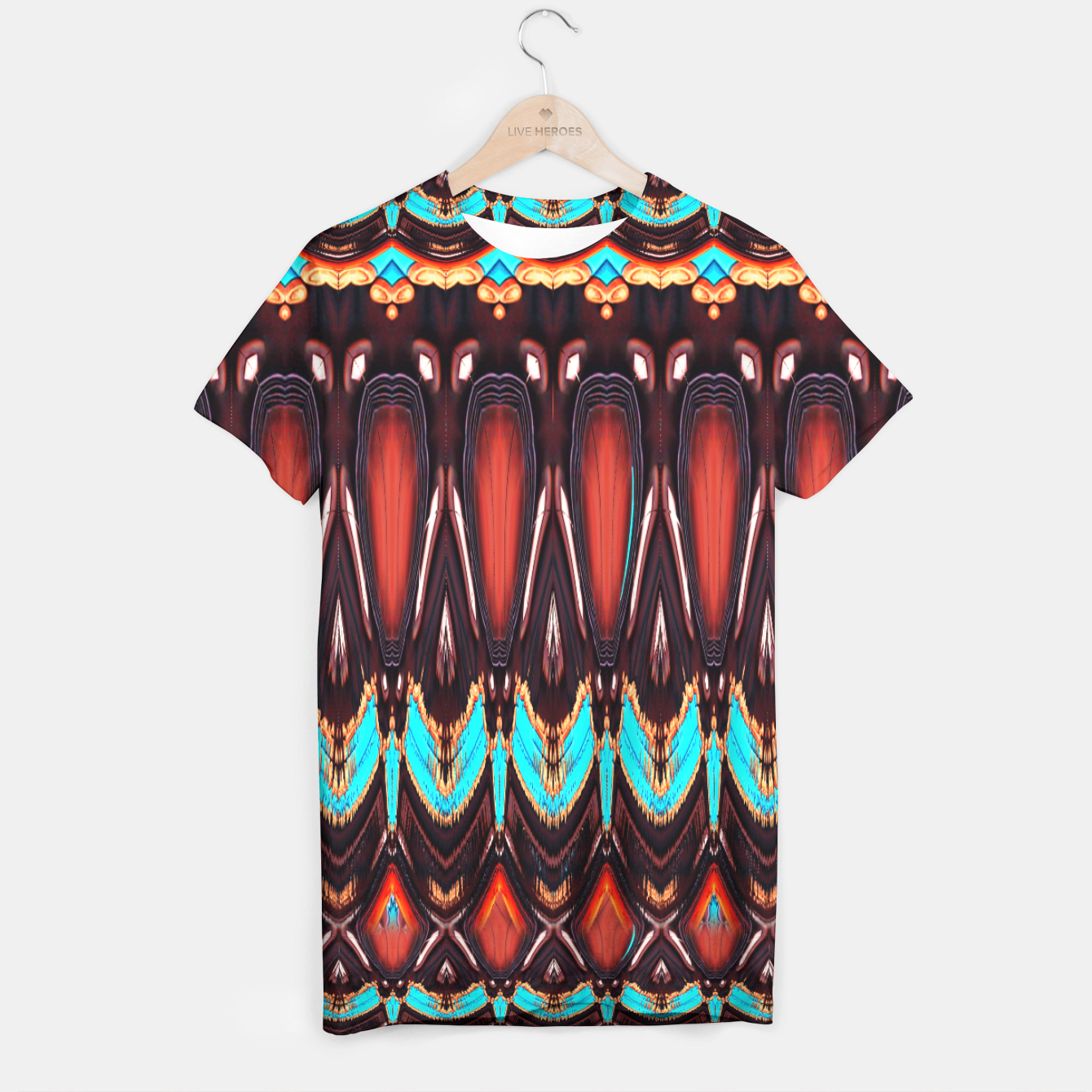 Image of K172 Wood and Turquoise Abstract T-shirt - Live Heroes