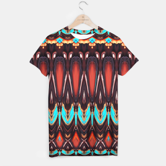 Thumbnail image of K172 Wood and Turquoise Abstract T-shirt, Live Heroes