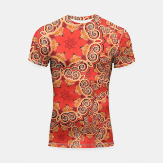 Gold 'n Rusty Curls Abstract  Shortsleeve Rashguard thumbnail image