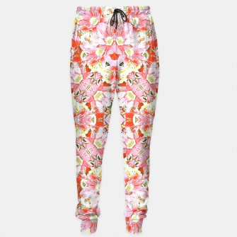 Miniatur K196 Abstract Pink Flowers  Sweatpants, Live Heroes