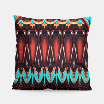Thumbnail image of K172 Wood and Turquoise Abstract Pillow, Live Heroes