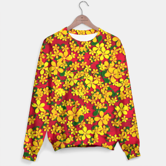 Miniatur Pretty Orange & Yellow Flowers on Red Sweater, Live Heroes