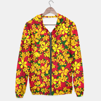 Miniatur Pretty Orange & Yellow Flowers on Red Hoodie, Live Heroes