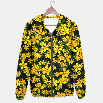 Miniatur Pretty Orange & Yellow Flowers on Black Hoodie, Live Heroes