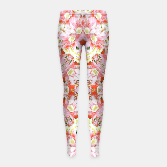 K196 Abstract Pink Flowers  Girl's Leggings thumbnail image