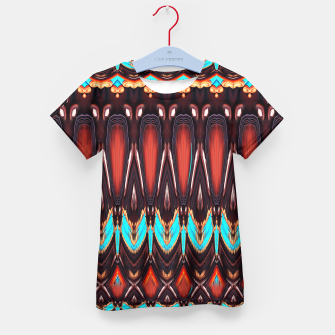 Thumbnail image of K172 Wood and Turquoise Abstract Kid's T-shirt, Live Heroes