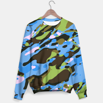 Miniatur camouflage graffiti painting texture abstract in green blue and brown Sweater, Live Heroes