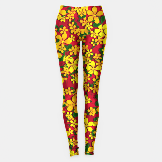 Thumbnail image of Pretty Orange & Yellow Flowers on Red Leggings, Live Heroes