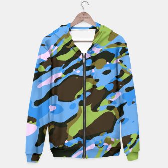Miniatur camouflage graffiti painting texture abstract in green blue and brown Hoodie, Live Heroes