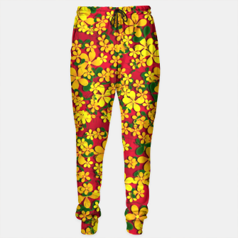 Miniatur Pretty Orange & Yellow Flowers on Red Sweatpants, Live Heroes