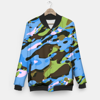 Miniatur camouflage graffiti painting texture abstract in green blue and brown Baseball Jacket, Live Heroes