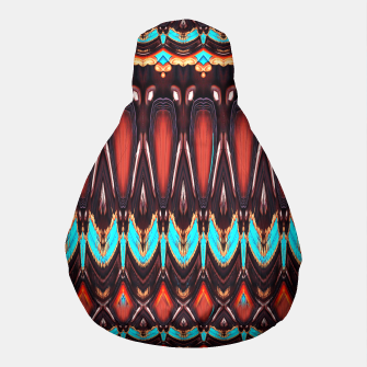 Thumbnail image of K172 Wood and Turquoise Abstract Pouf, Live Heroes