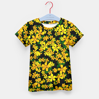 Thumbnail image of Pretty Orange & Yellow Flowers on Black Kid's T-shirt, Live Heroes
