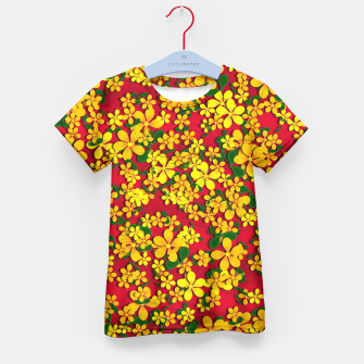 Thumbnail image of Pretty Orange & Yellow Flowers on Red Kid's T-shirt, Live Heroes