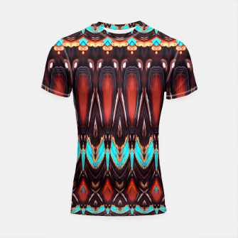 Thumbnail image of K172 Wood and Turquoise Abstract Shortsleeve Rashguard, Live Heroes