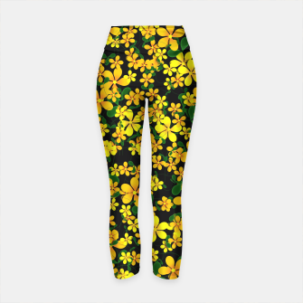 Thumbnail image of Pretty Orange & Yellow Flowers on Black Yoga Pants, Live Heroes