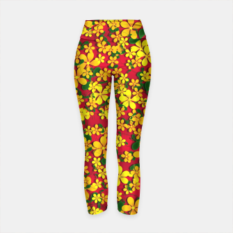 Thumbnail image of Pretty Orange & Yellow Flowers on Red Yoga Pants, Live Heroes