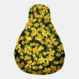 Thumbnail image of Pretty Orange & Yellow Flowers on Black Pouf, Live Heroes