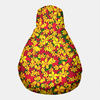 Thumbnail image of Pretty Orange & Yellow Flowers on Red Pouf, Live Heroes