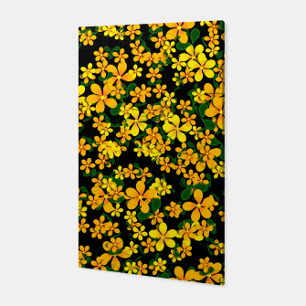Thumbnail image of Pretty Orange & Yellow Flowers on Black Canvas, Live Heroes