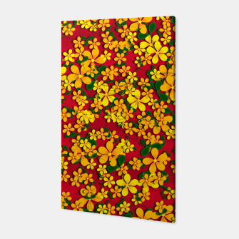 Thumbnail image of Pretty Orange & Yellow Flowers on Red Canvas, Live Heroes