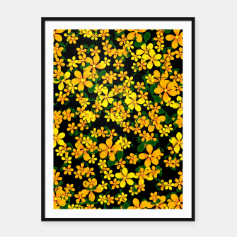 Thumbnail image of Pretty Orange & Yellow Flowers on Black Framed poster, Live Heroes