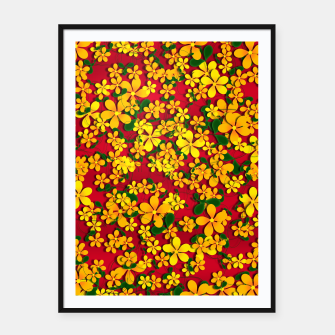 Thumbnail image of Pretty Orange & Yellow Flowers on Red Framed poster, Live Heroes