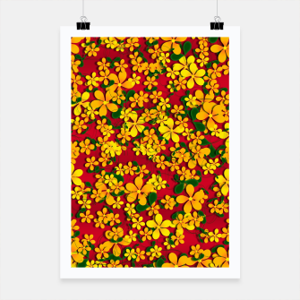 Miniatur Pretty Orange & Yellow Flowers on Red Poster, Live Heroes